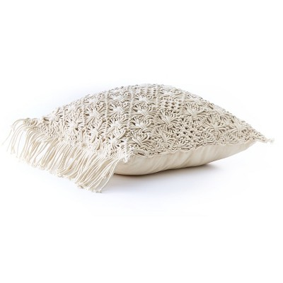 """Lakeside Macrame Throw Pillow with Soft, Textured Sweater Design - Square 18""""x18"""""""