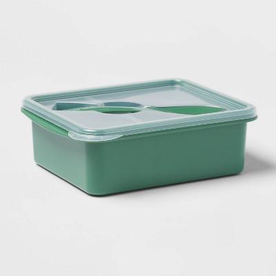 Plastic Bento Box with Utensil Crisp Green - Room Essentials™