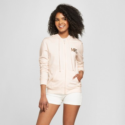 Women's Mrs. Gold Foil French Terry Hooded Zip-Up Graphic Sweatshirt - Modern Lux Pink M