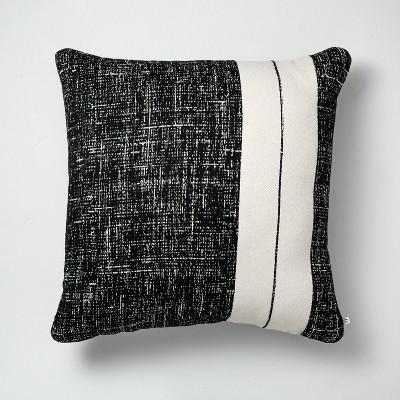 "24"" x 24"" Single Stripe Colorblock Indoor/Outdoor Throw Pillow Black/Cream - Hearth & Hand™ with Magnolia"