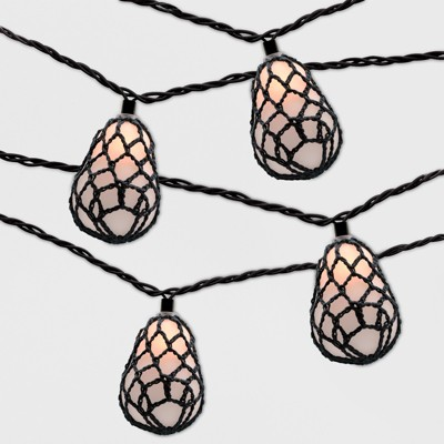 10ct Outdoor Orb String Lights Black Rope - Opalhouse™