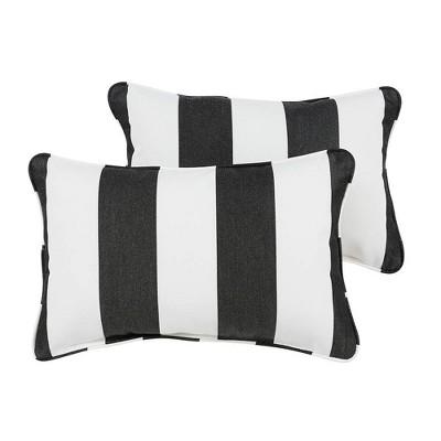 Sunbrella 2pk Cabana Classic Lumbar Outdoor Throw Pillows Black/White