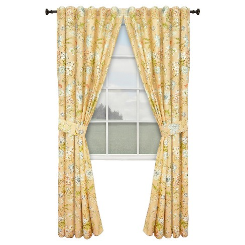 Waverly Cape Coral Lined Curtain Panel Pair - Coral (100''x84'') - image 1 of 2