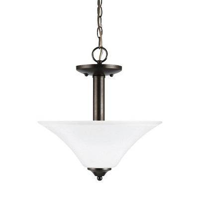 "Sea Gull Lighting Holman 2-Light 13"" Round Semi-Flush Convertible Pendant, Heirloom Bronze 77806"