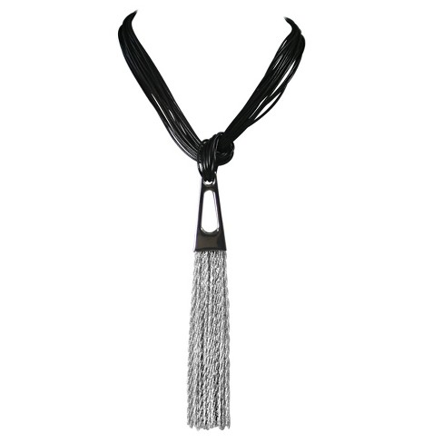 "Zirconite® Multi-Strand Leather with Geometrical Metal Design Tassel Necklace -20"" - image 1 of 1"