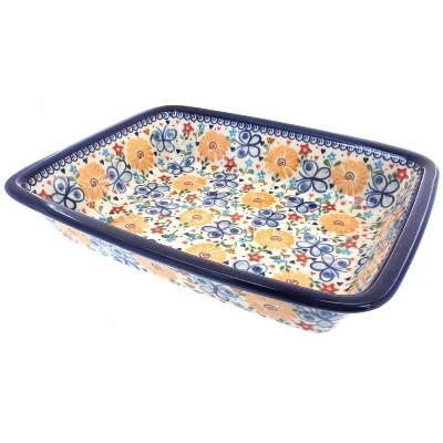 Blue Rose Polish Pottery Butterfly Lasagna Dish