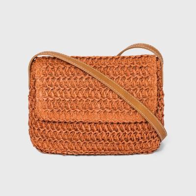 Straw Flap Crossbody Bag - Universal Thread™