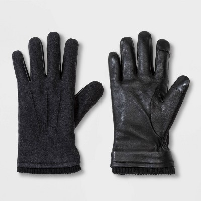 Men's Knit Cuff Touch Tech Leather Gloves - Goodfellow & Co™ Gray