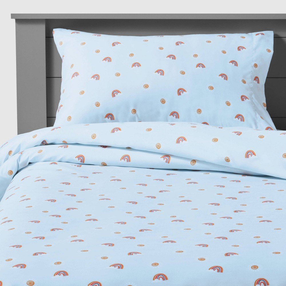 Queen Rainbow Microfiber Sheet Set Scatter Blue Pillowfort 8482