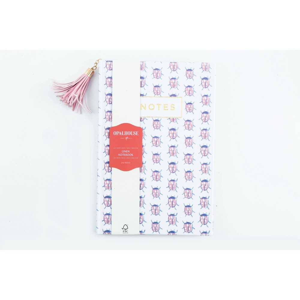 Notebook College Ruled Linen with Tassel Pink Beetles - Opalhouse Promos