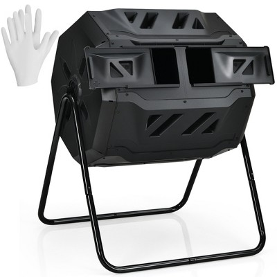 Costway 43 Gallon Composting Tumbler Compost Bin w/Dual Rotating Chamber Black