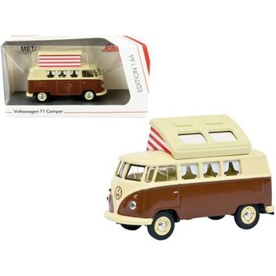 Volkswagen T1 Camper Bus with Pop-Top Roof Brown and Cream 1/64 Diecast Model by Schuco