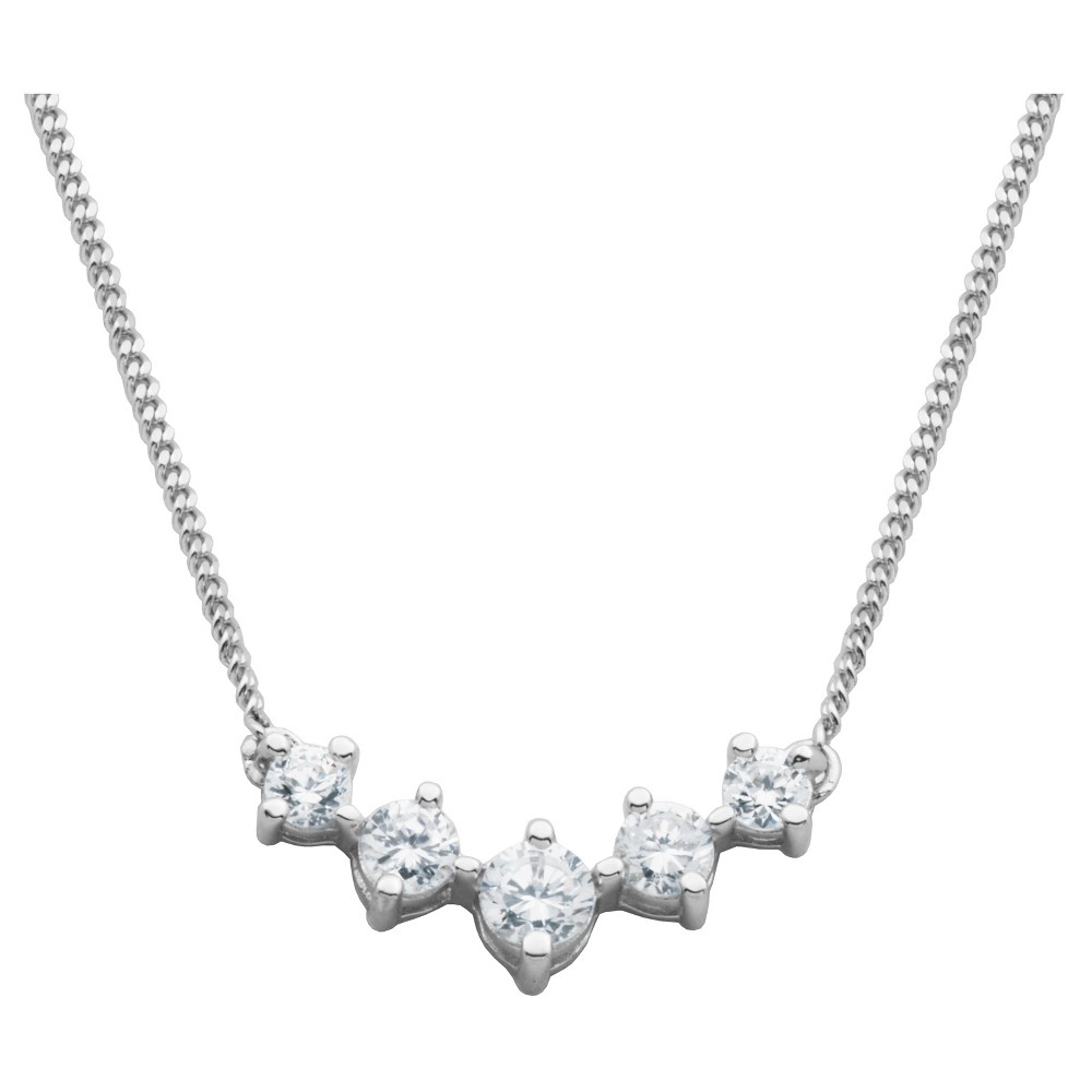 Sterling Silver Simulated Diamond Necklace, 16, Girl's, Clear