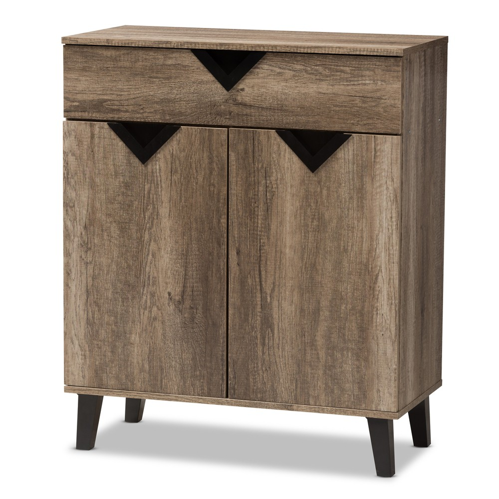 Image of Wales Modern and Contemporary Wood Shoe Storage Cabinet Light Brown - Baxton Studio