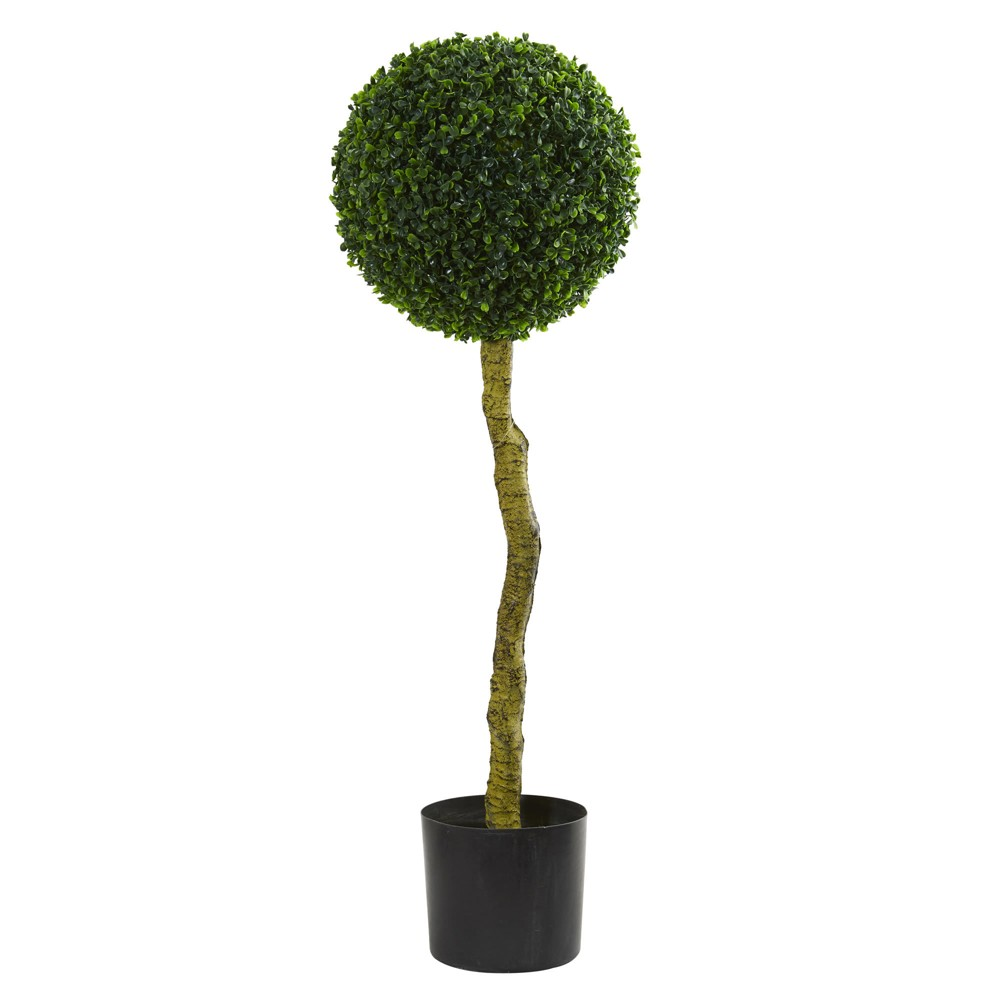 3.5ft Boxwood Artificial Topiary Tree - Nearly Natural, Green