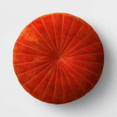 Quilted Velvet Round Throw Pillow Cinnamon - Opalhouse™