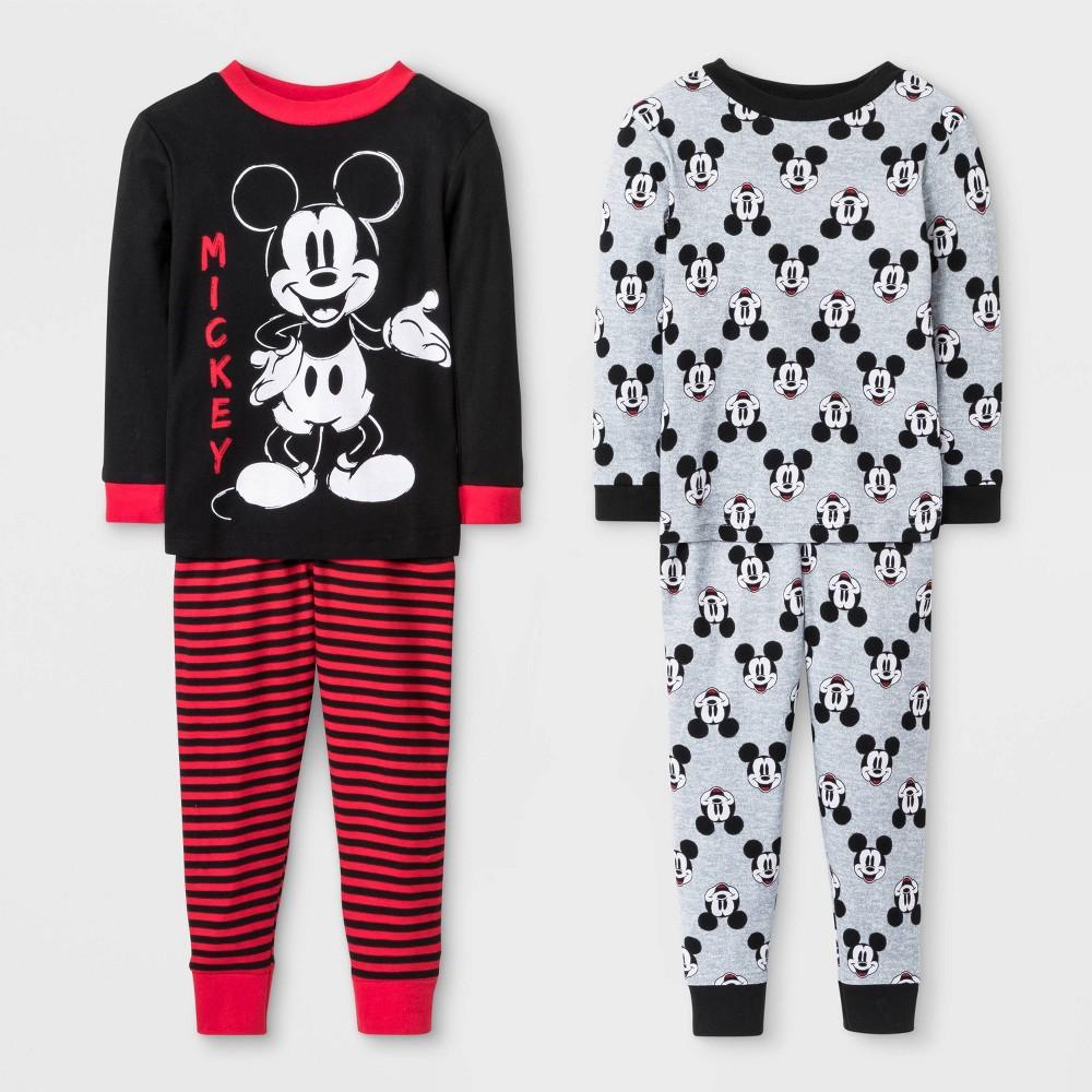 Image of Baby Boys' 4pc Mickey Mouse Pajama Set - Black/Gray/Red 12M, Boy's
