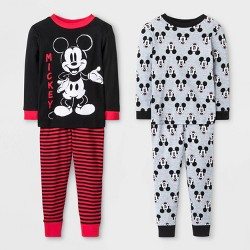Toddler Boys' 4pc Mickey Mouse Pajama Set - Black/Gray/Red