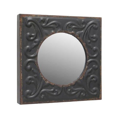 "11.8"" x 11.8"" Decorative Square Metal Wall Mirror Charcoal - Stonebriar Collection"