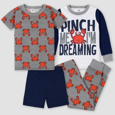 Gerber Toddler Boys' 4pc Pajama Set - Gray/Red