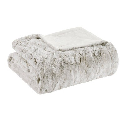 """60""""x70"""" Marselle Oversized Faux Fur Throw Blanket Snow Leopard"""