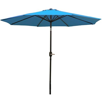 9' Aluminum Market Tilt Patio Umbrella  - Turquoise - Sunnydaze Decor