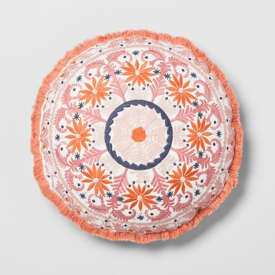 Coral Embroidered Round Throw Pillow - Opalhouse™