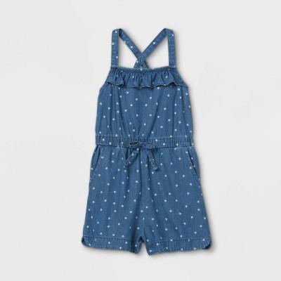 Toddler Girls' Star Romper - Cat & Jack™ Chambray Blue