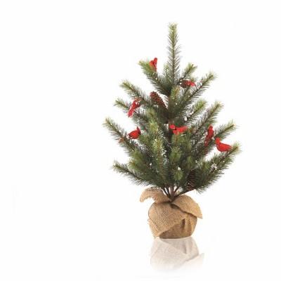 Napa Home & Garden 2' Unlit Artificial Christmas Tree Full Glittered Cardinal Snow Pine