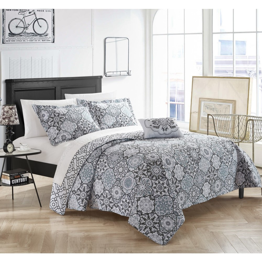 King 4pc Norwell Quilt Set Black - Chic Home