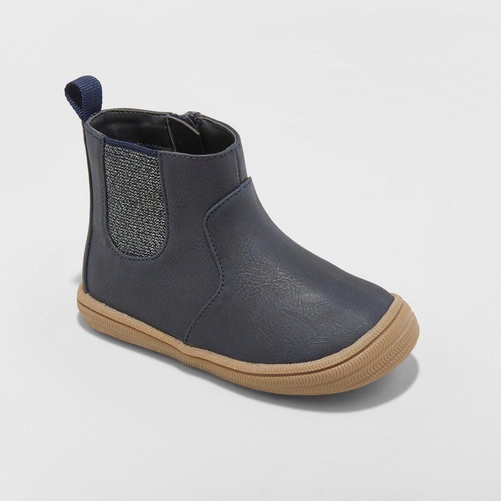 Toddler Girls' Vanette Metallic Elastic Gore Ankle Boots - Cat & Jack Navy 8, Blue