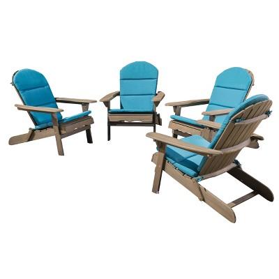 Malibu 4pk Acacia Adirondack Chairs - Gray/Teal - Christopher Knight Home