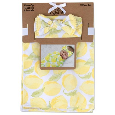 Baby Essentials Lemon Print Swaddle Blanket and Headband