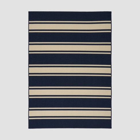 Cabana Stripe Outdoor Rug Navy/Ivory - Christopher Knight Home - image 1 of 5