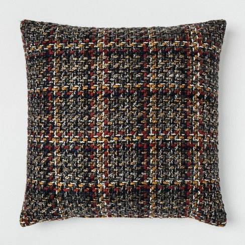 Woven Plaid Oversized Square Throw Pillow Blue - Threshold™ - image 1 of 2