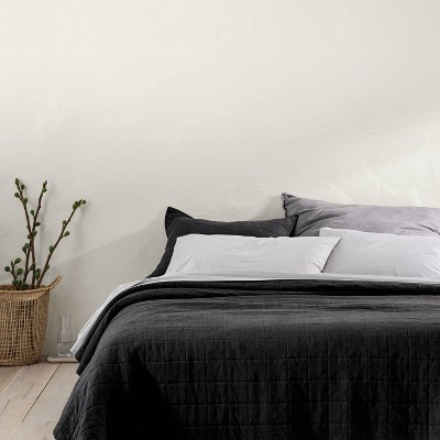 Full/Queen Heavyweight Linen Blend Quilt Washed Black - Casaluna™