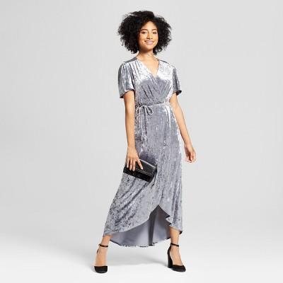4e4f0de70f Women s Crushed Velvet Short Sleeve Maxi Dress - Xhilaration™ Silver    Target