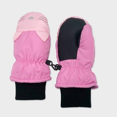 Toddler Girls' Cat Cuff Ski Mittens - Cat & Jack™ Pink 2T-5T