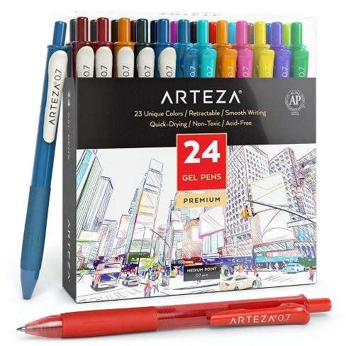 ARTEZA Retractable Gel Ink Pens, Vintage & Bright Colors - Set of 24 - image 1 of 4
