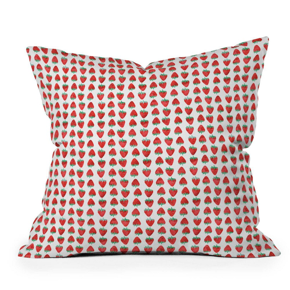 16 34 X16 34 Little Arrow Design Co Summer Strawberries Square Throw Pillow Red Deny Designs