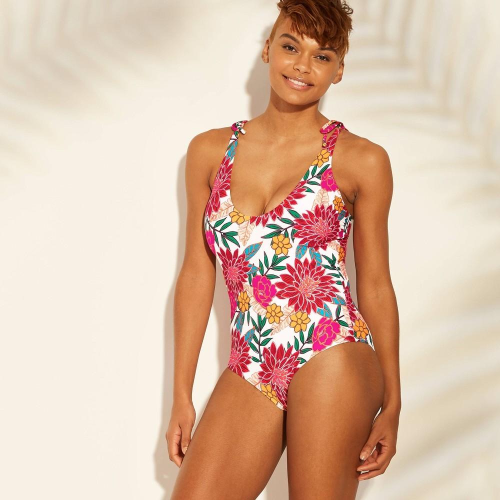 Women's Tie Shoulder One Piece Swimsuit - Sunn Lab Swim Pink Floral S, Multicolored