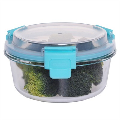 Home Basics 13 oz.  Round Leak and Spill Proof  Borosilicate Glass  Food Storage Dishwasher Safe Meal Prep Storage Container with Air-tight Plastic Lid, Turquoise