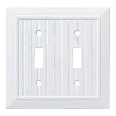 Franklin Brass Classic Beadboard Double Switch Wall Plate White
