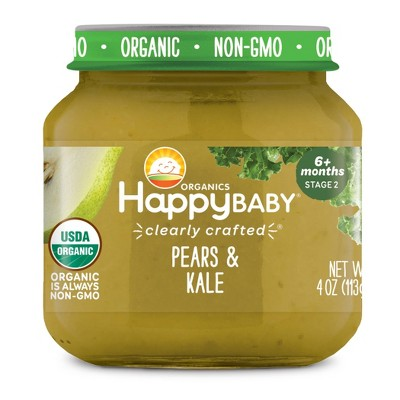 HappyBaby Clearly Crafted Pears & Kale Baby Meals Jar - 4oz