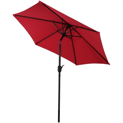 Aluminum Tilt Patio Umbrella 7.5' - Red - Sunnydaze Decor