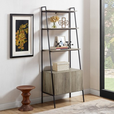 """72"""" Marie Open Shelf And Closed Storage Ladder Bookcase - Saracina Home : Target"""