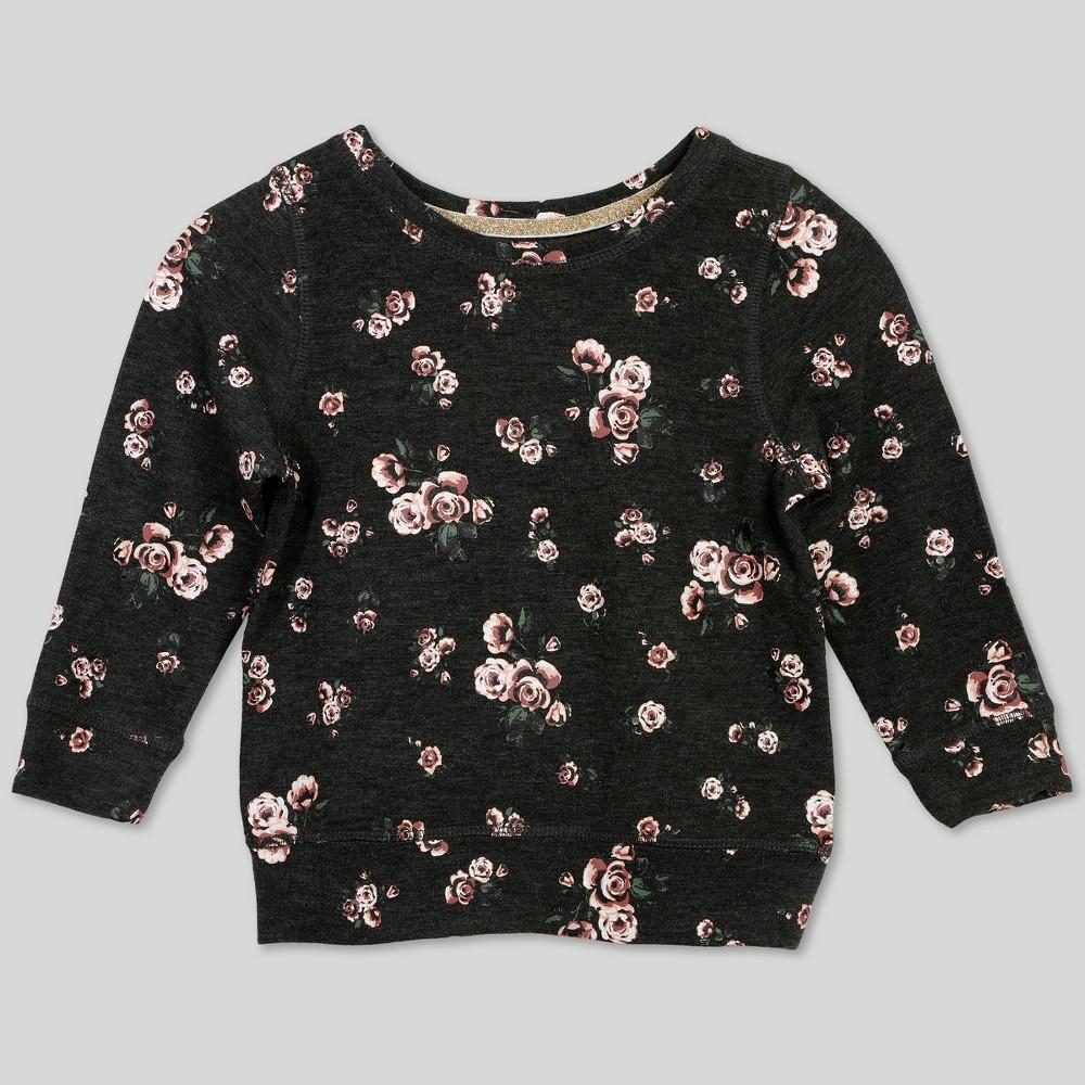 Afton Street Toddler Girls' Floral Print Long Sleeve T-Shirt - Gray 18M