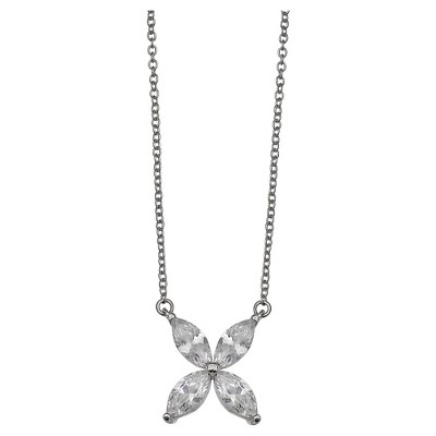"Women's Cubic Zirconia Flower Necklace in Sterling Silver - Silver/Clear (18"")"