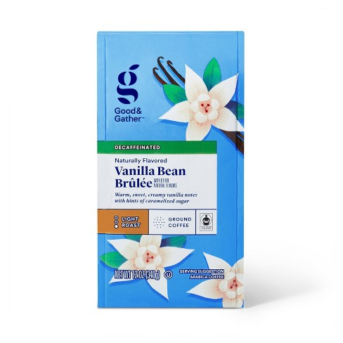 Naturally Flavored Vanilla Bean Brulee Light Roast Ground Coffee - Decaf - 12oz - Good & Gather™ - image 1 of 3