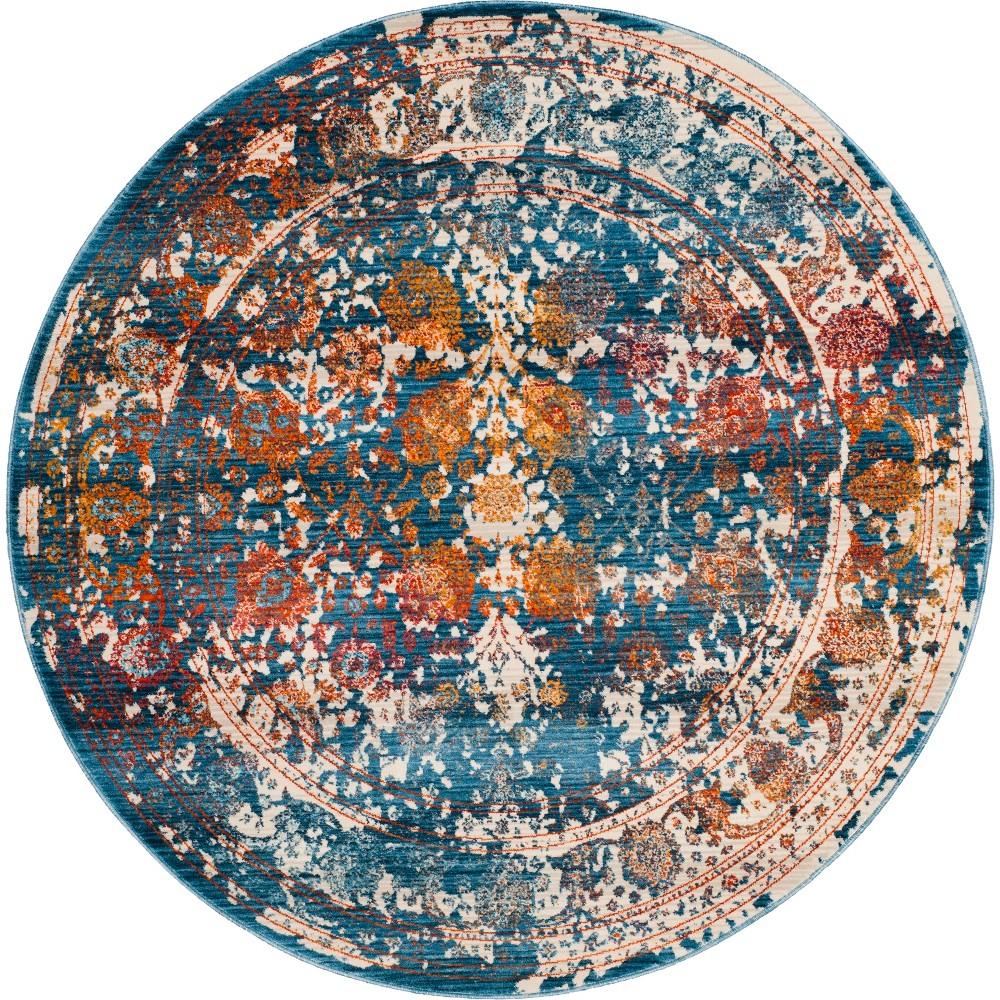 5' Shapes Loomed Round Area Rug Turquoise - Safavieh, Turquoise/Multi-Colored